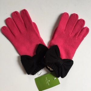 Kate Spade ♠️ Black and Pink Bow 🎀 Gloves 🧤 NWT